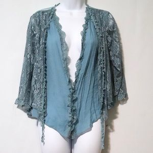 Pretty Angel blue lace linen blouse boho M